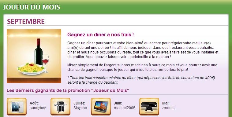 Gagnez un dîner aux frais d'Online Bingo